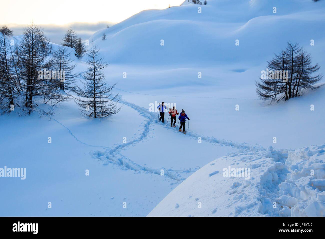 Escursioni con le racchette da neve anticipo in neve fresca in Engadina. Il Cantone dei Grigioni. La Svizzera. Europa Immagini Stock
