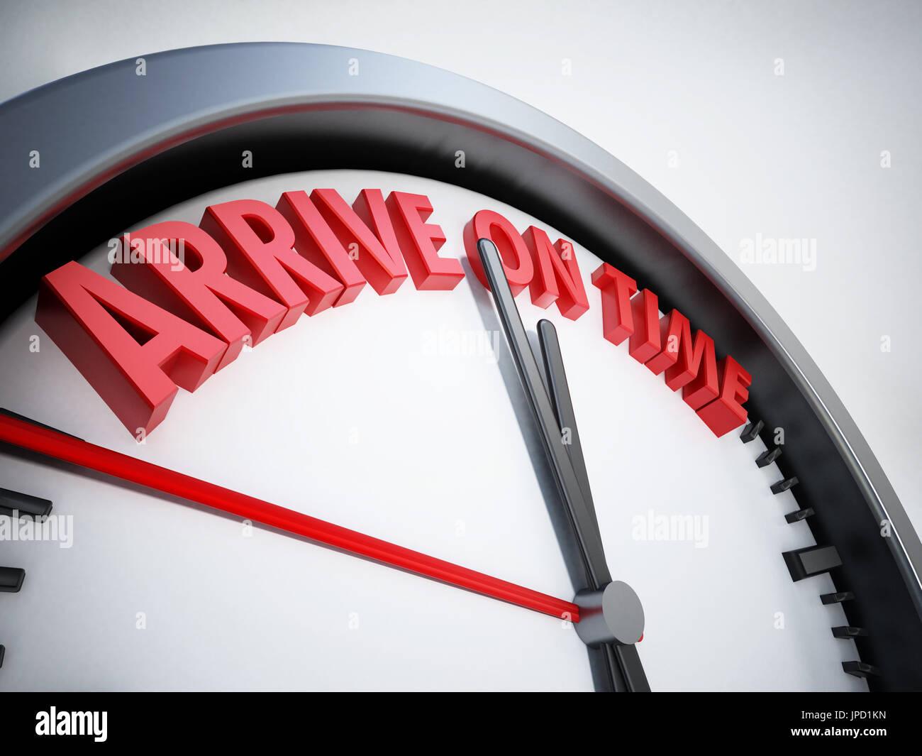 Orologio con arriva in tempo il testo. 3D'illustrazione. Immagini Stock