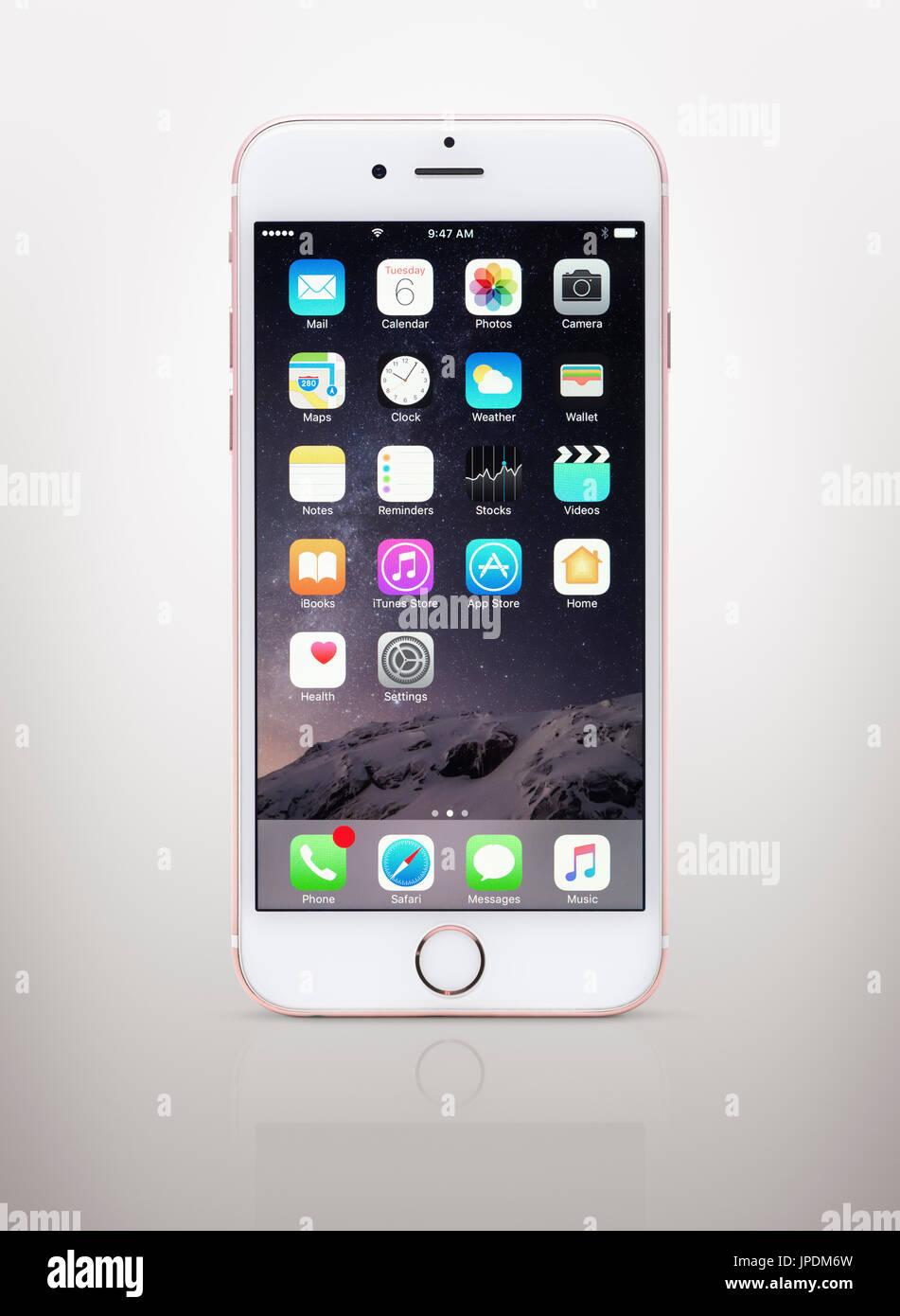 Rosa Rosa Oro Bianco Apple Iphone 6 6s Con Le Icone Del Desktop Sul