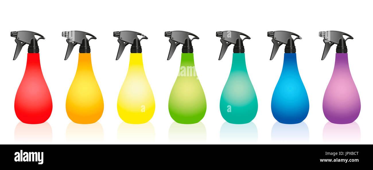 Bottiglie spray - set colorato. Immagini Stock
