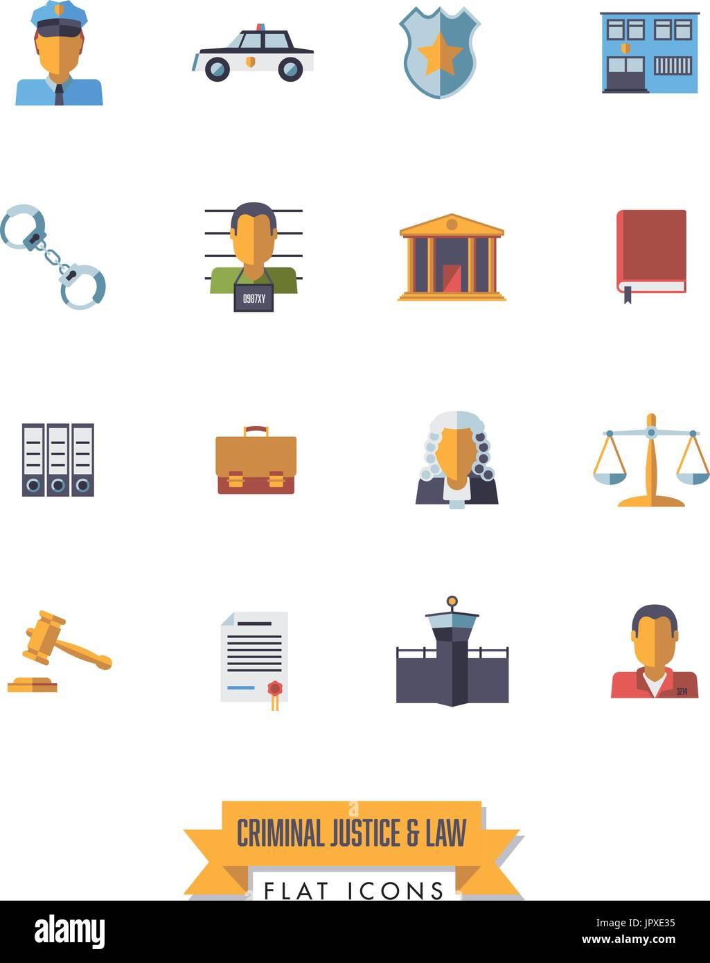 Raccolta di isolato il diritto e la giustizia penale icone. Design piatto set di simboli. Immagini Stock