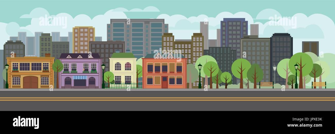 Illustrazione Vettoriale del paesaggio urbano con parco. Design piatto case e alberi a Main Street. Illustrazione Vettoriale