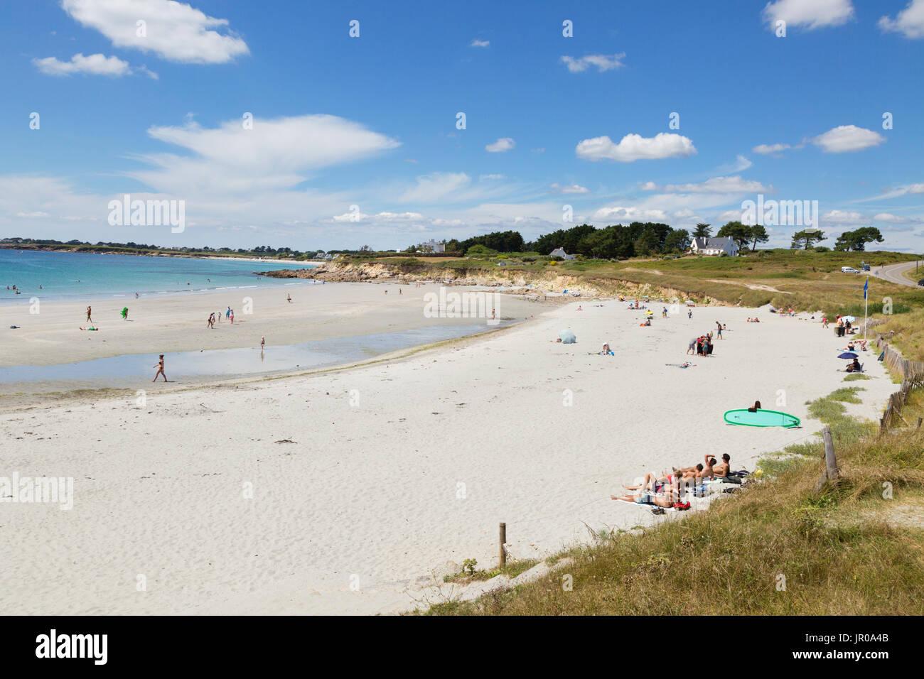 Francia Beach - spiaggia Raguenez, Finisterre, Bretagna Francia del nord Europa Immagini Stock