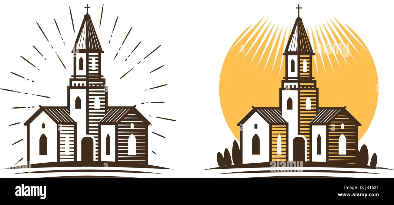 Logo della chiesa. La religione, fede, convinzione Icona o simbolo. Illustrazione Vettoriale Immagini Stock
