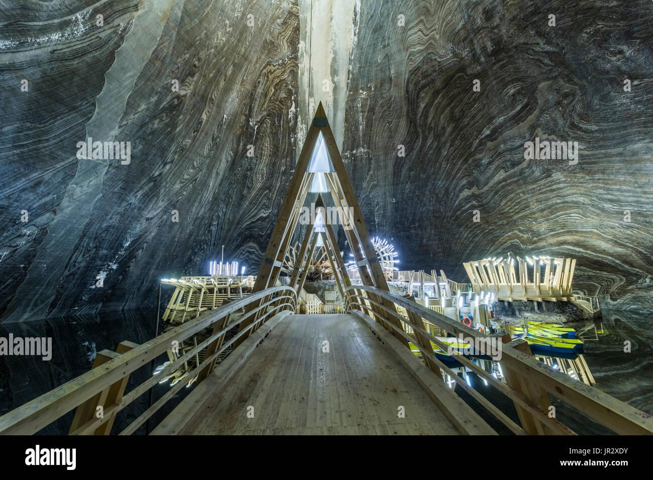 La Turda Miniera di sale in Romania - uno dei più cool luogo sotterraneo nel mondo Immagini Stock