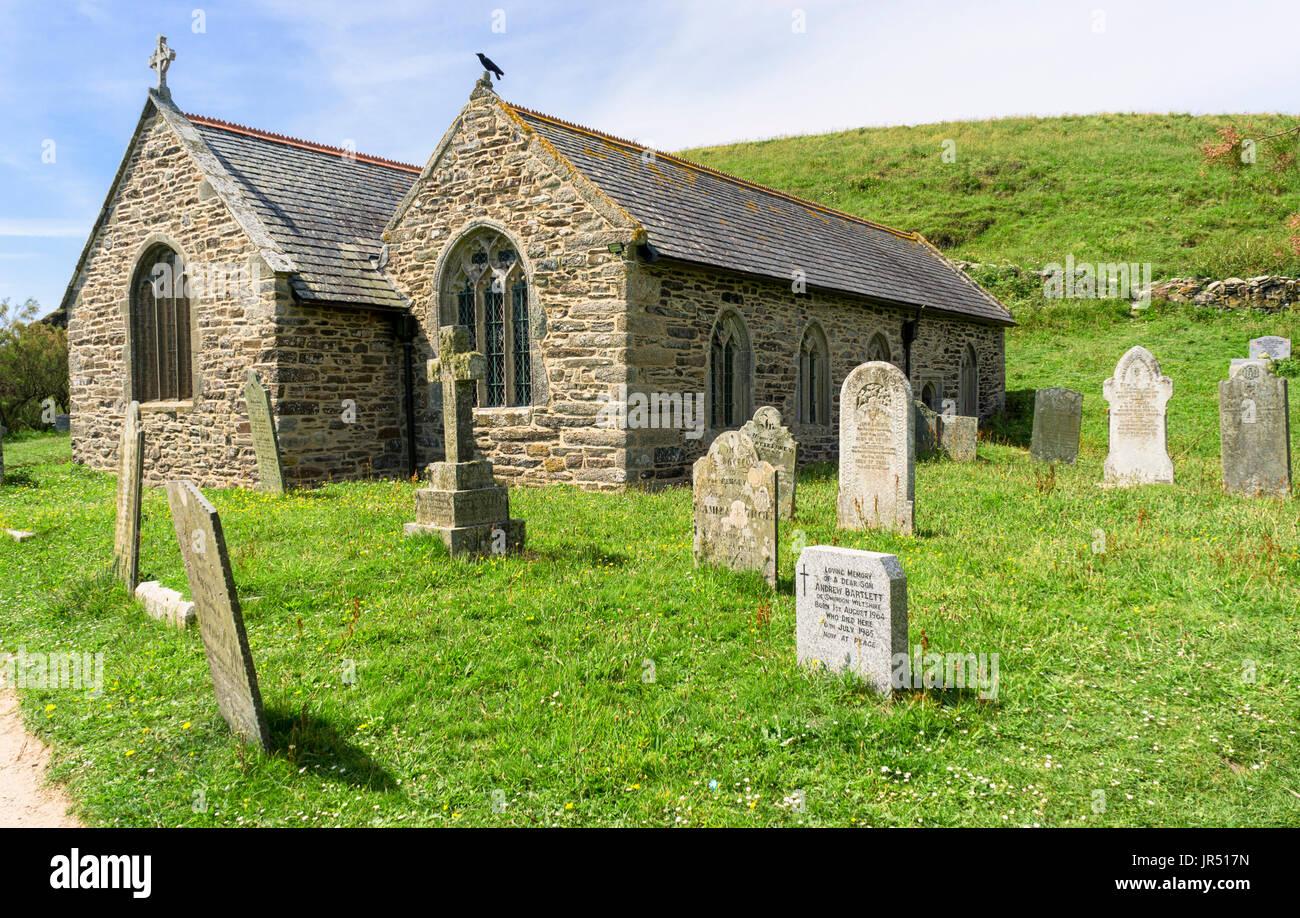 Gunwalloe chiesa di St Winwaloe, penisola di Lizard, Cornwall, Regno Unito - architettura normanna Immagini Stock