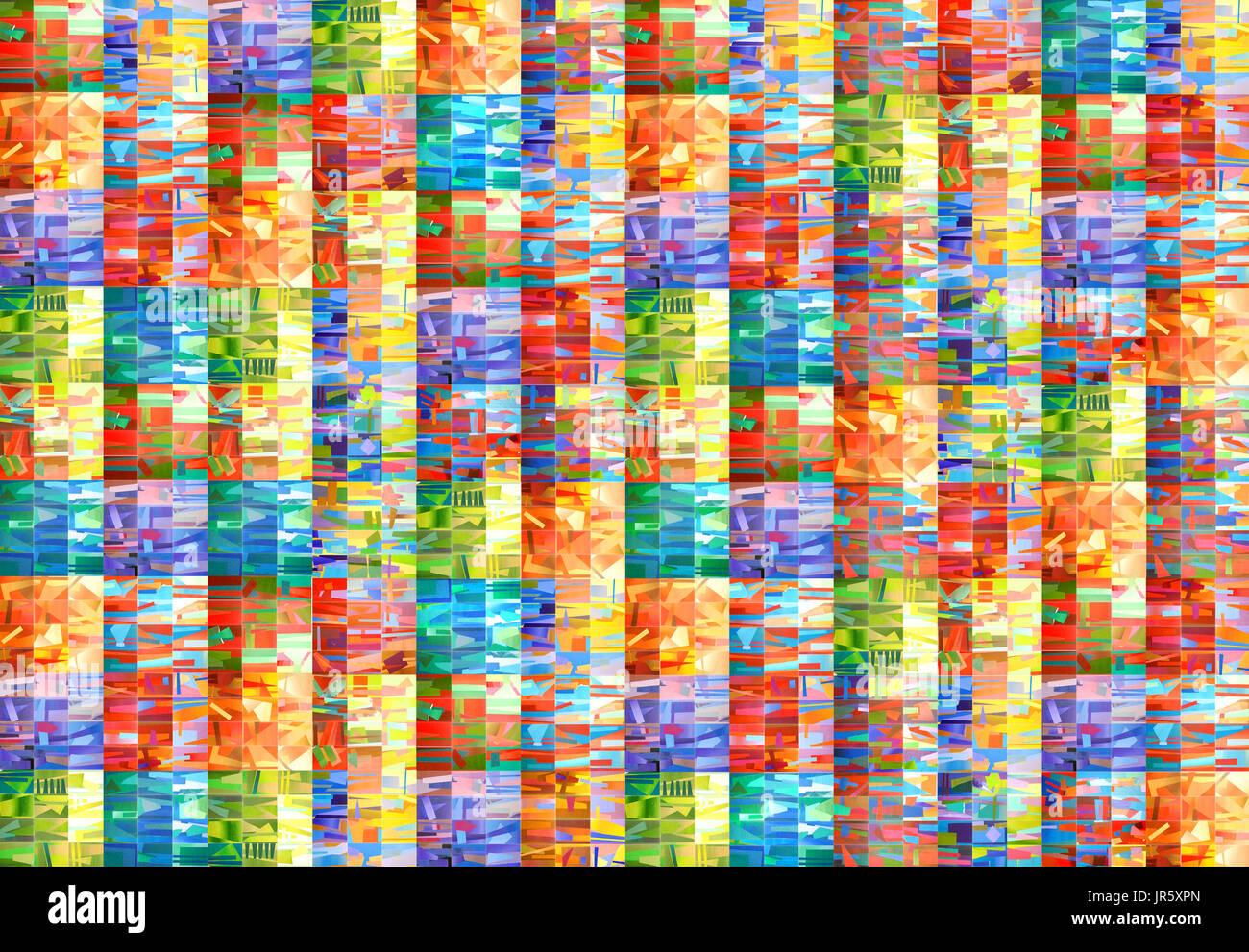 Disegnata a mano multicolore disegno ad acquerello. Fatte a mano sfondo geometrico di quadrati colorati o pixel Immagini Stock