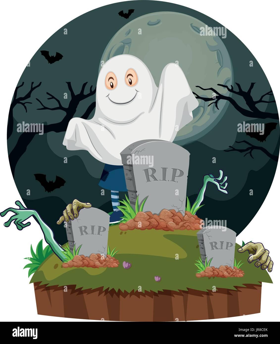 In scena con fantasma nel cimitero illustrazione illustrazione