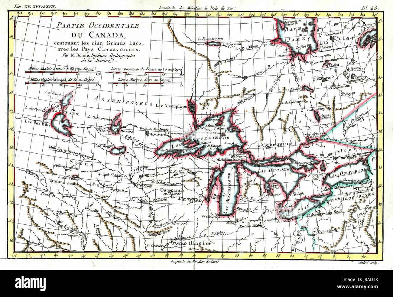 1780 Bonne Antica Mappa Della Regione Dei Grandi Laghi Nella Parte