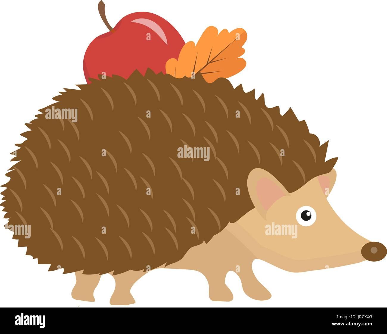 Carino il riccio con apple e di foglie sulle spine icona piatta o