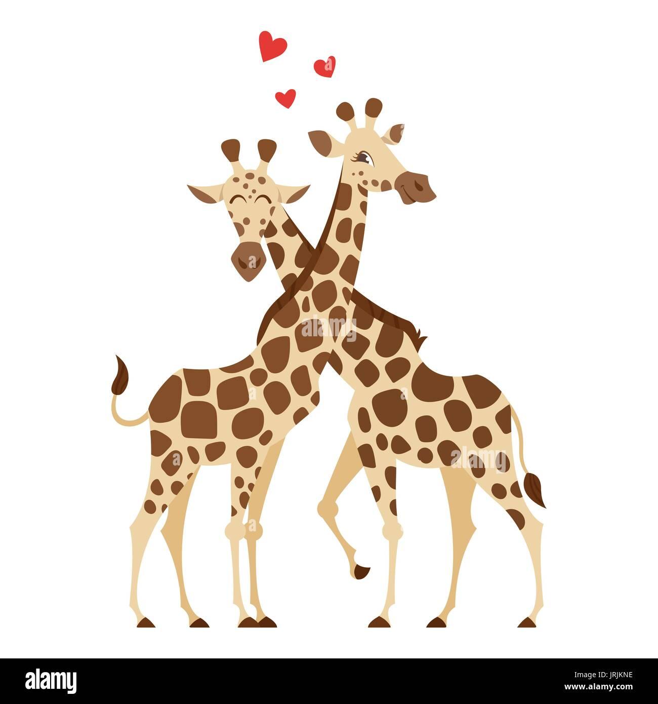 Vettore stile fumetto illustrazione di due giraffe. Isolato su sfondo bianco. Illustrazione Vettoriale