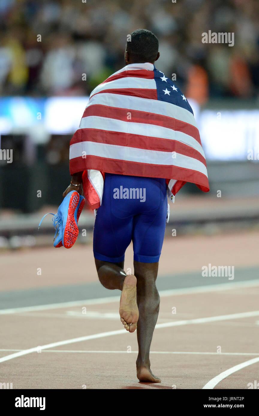 Londra, Regno Unito. 05 Ago, 2017. Justin Gatlin (USA) vince il concorso oltre il favorito Usain Bolt (JAM) presso la IAAF Atletica Campionati del Mondo - Londra 2017 Credit: Mariano Garcia/Alamy Live News Immagini Stock