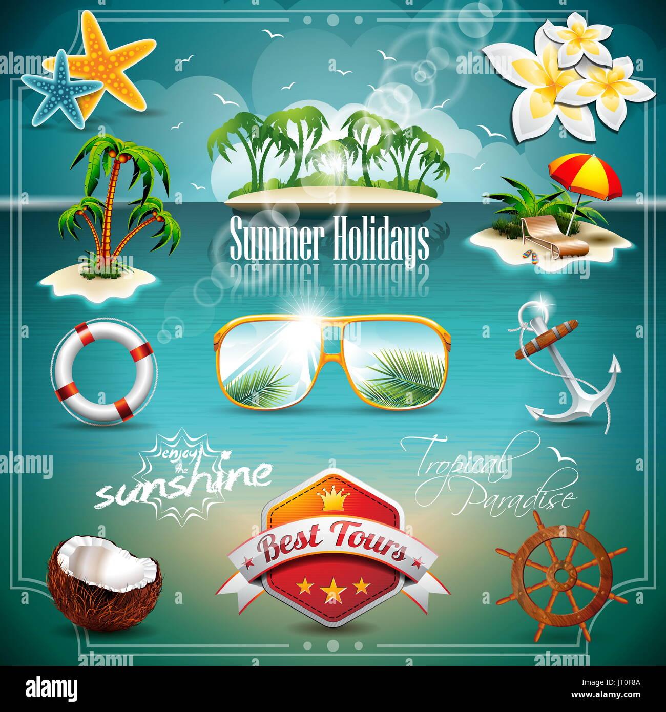 Vettore vacanza estiva icona impostare sul blu del mare sullo sfondo. Eps10 illustrazione. Immagini Stock