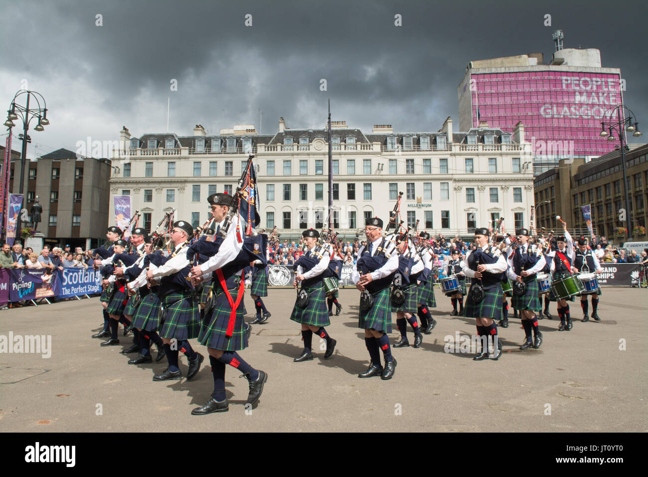 George Square, Glasgow, Scotland, Regno Unito. Il 7 agosto, 2017 Piping Live! - Il Glasgow International Festival Foto Stock