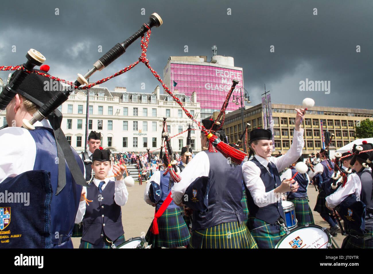 George Square, Glasgow, Scotland, Regno Unito. Il 7 agosto, 2017 Piping Live! - Il Glasgow International Festival Foto Stock