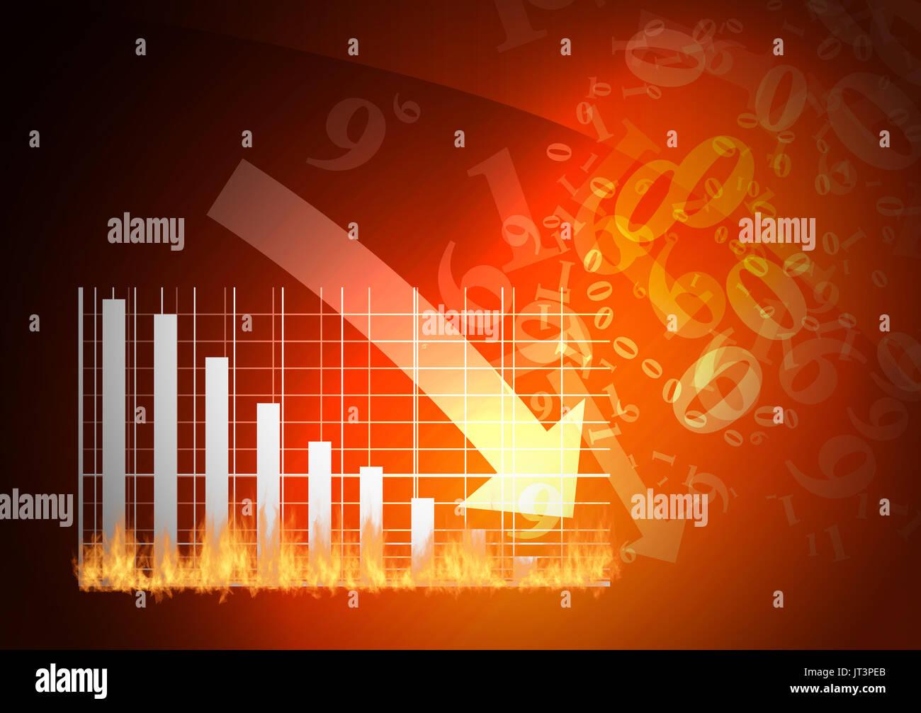 Il grafico rosso è la caduta verso il basso Immagini Stock