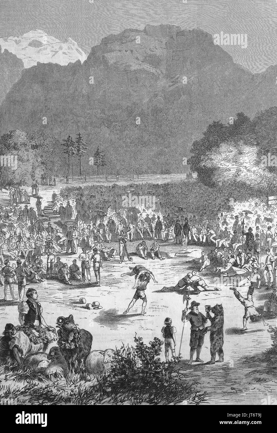 Un Schwingerfest a Interlaken, Svizzera, Schwingen noto anche come Swiss wrestling e Hoselupf, calzoncini-sollevamento, è uno stile di musica folk nativo di wrestling alla Svizzera, digitale migliorata la riproduzione di un immagine pubblicata tra 1880 - 1885 Immagini Stock