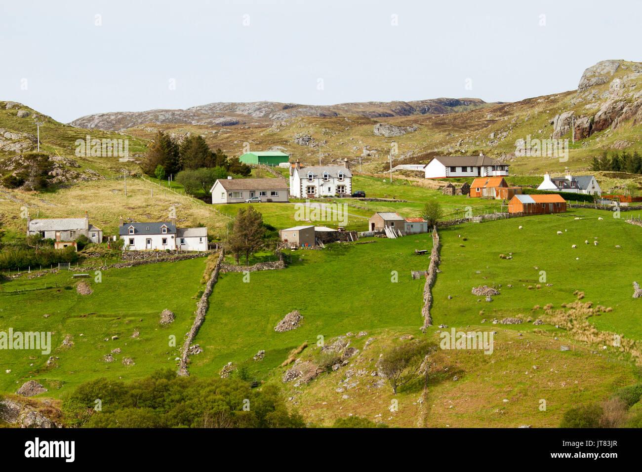 Case e Terreni coltivati nei pressi di Kinlochbervie, Scozia Foto Stock