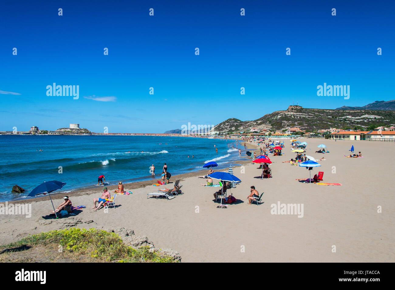 Spiaggia di La Caletta costa orientale della Sardegna, Italia, Mediterraneo, Europa Immagini Stock
