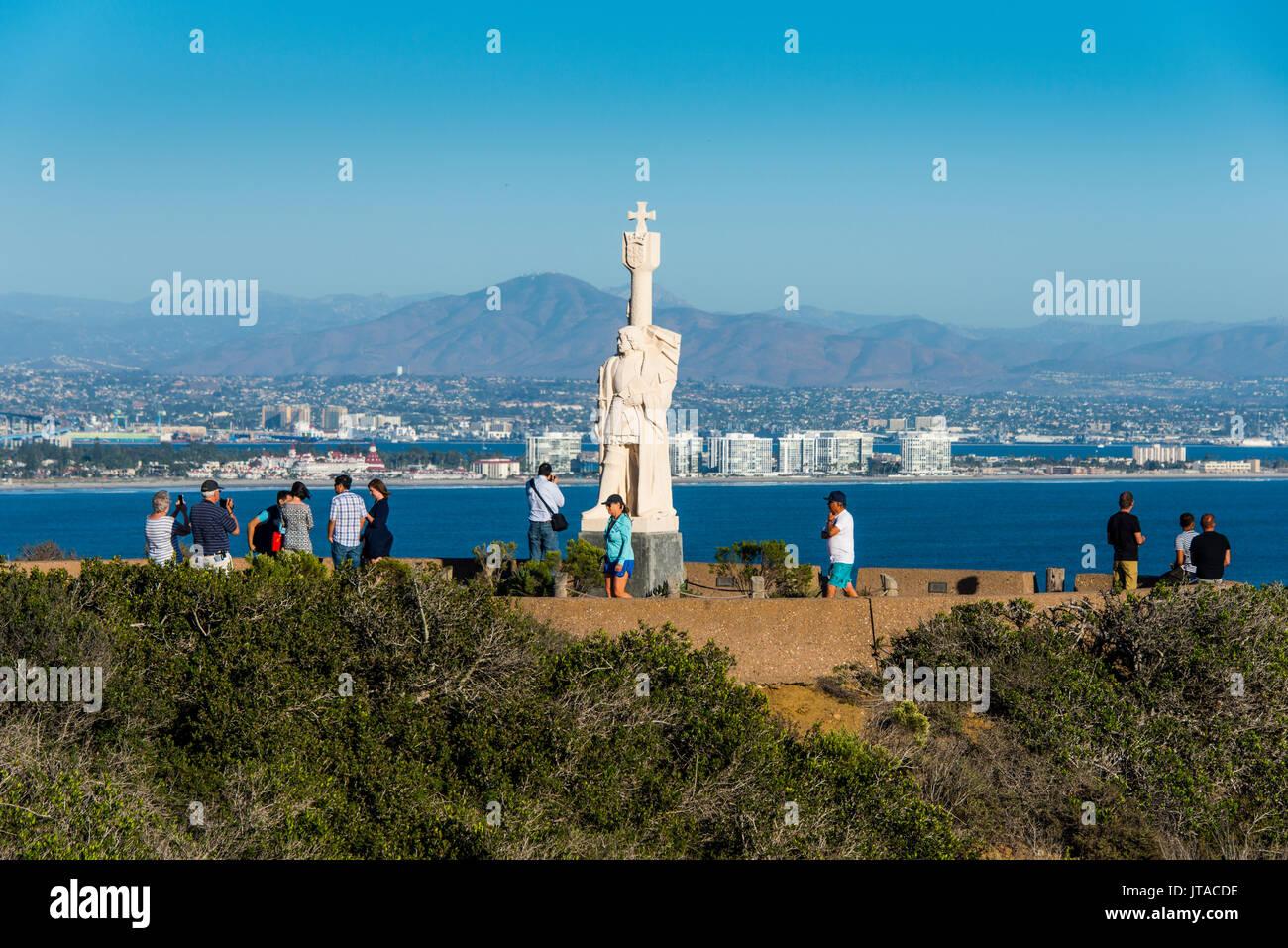 Cabrillo statua, Cabrillo National Monument, Point Loma, San Diego, California, Stati Uniti d'America, America del Nord Immagini Stock