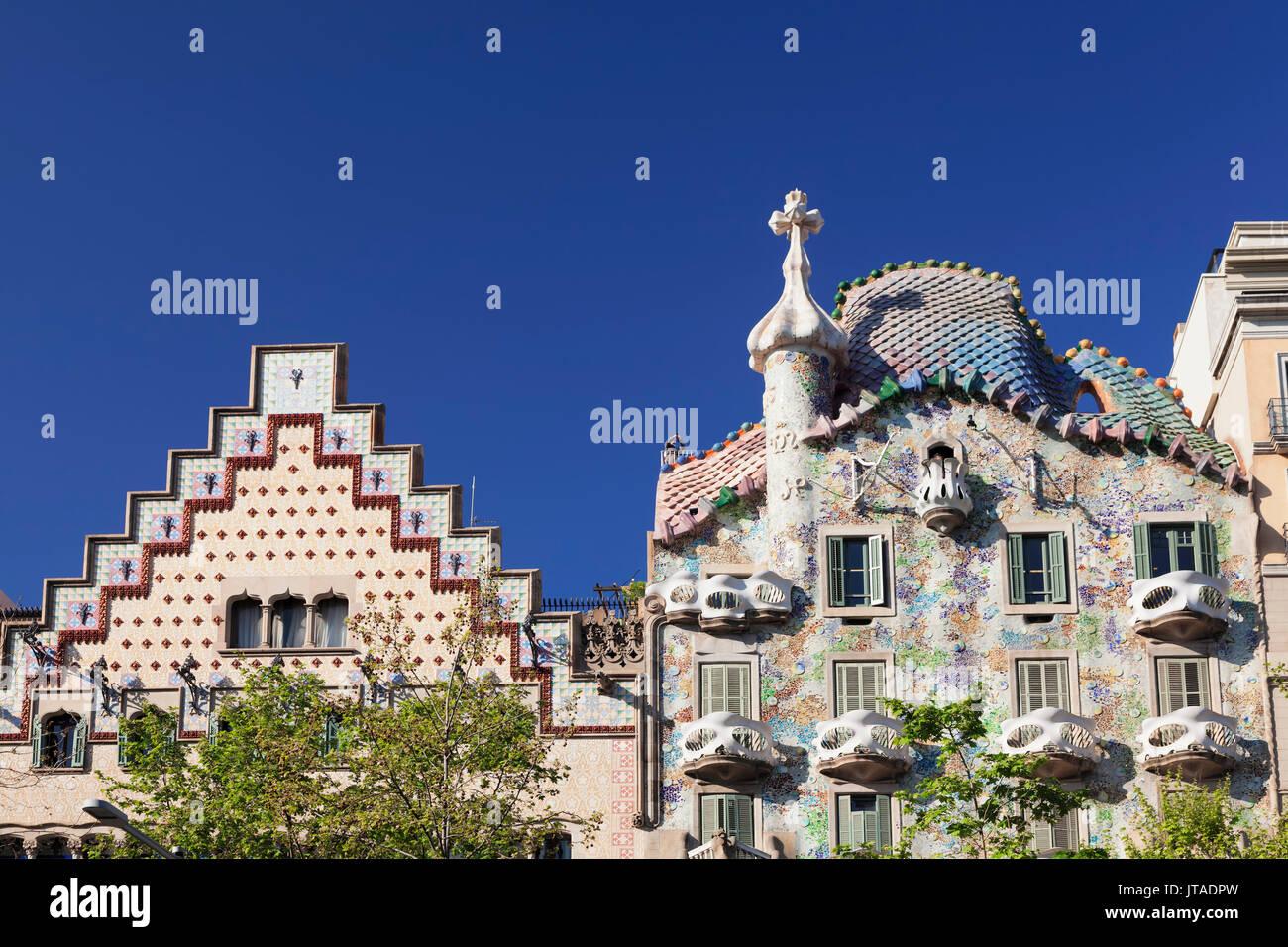 Casa Batllo, architetto Antonio Gaudì, Sito Patrimonio Mondiale dell'UNESCO, Casa Amatller, Modernisme, Barcellona, in Catalogna, Spagna, Europa Immagini Stock