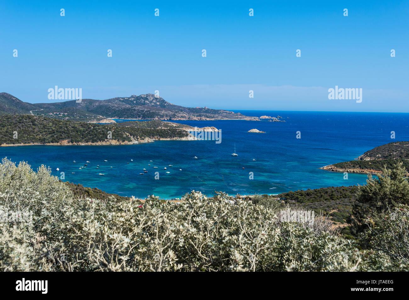 Belle baie della Costa del Sud Sardegna, Italia, Mediterraneo, Europa Immagini Stock
