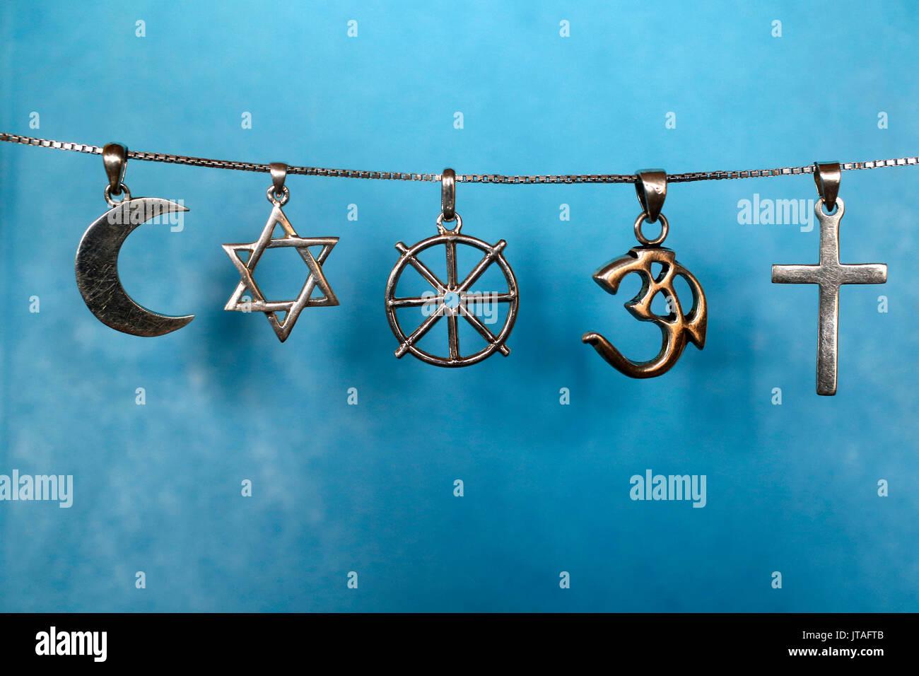 Simboli di islam ebraismo, del Buddismo, dell Induismo e cristianesimo, Eure, Francia, Europa Immagini Stock