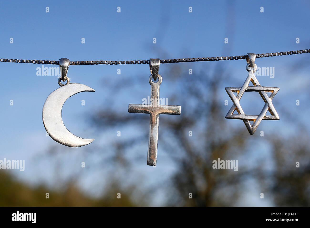 Simboli di Islam, il cristianesimo e il Giudaismo, Eure, Francia, Europa Immagini Stock