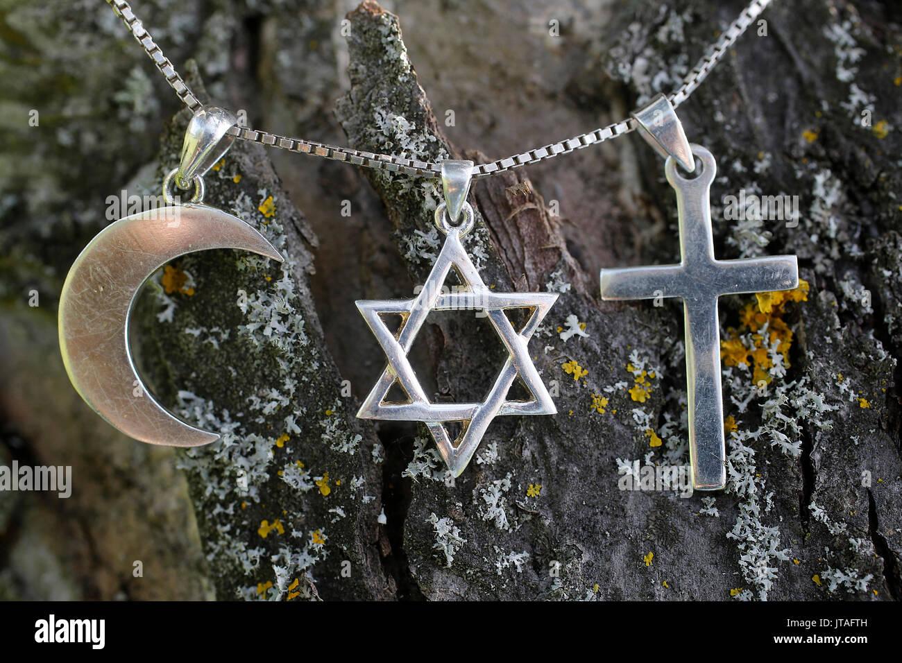 Simboli di islam ebraismo e cristianesimo, Eure, Francia, Europa Immagini Stock