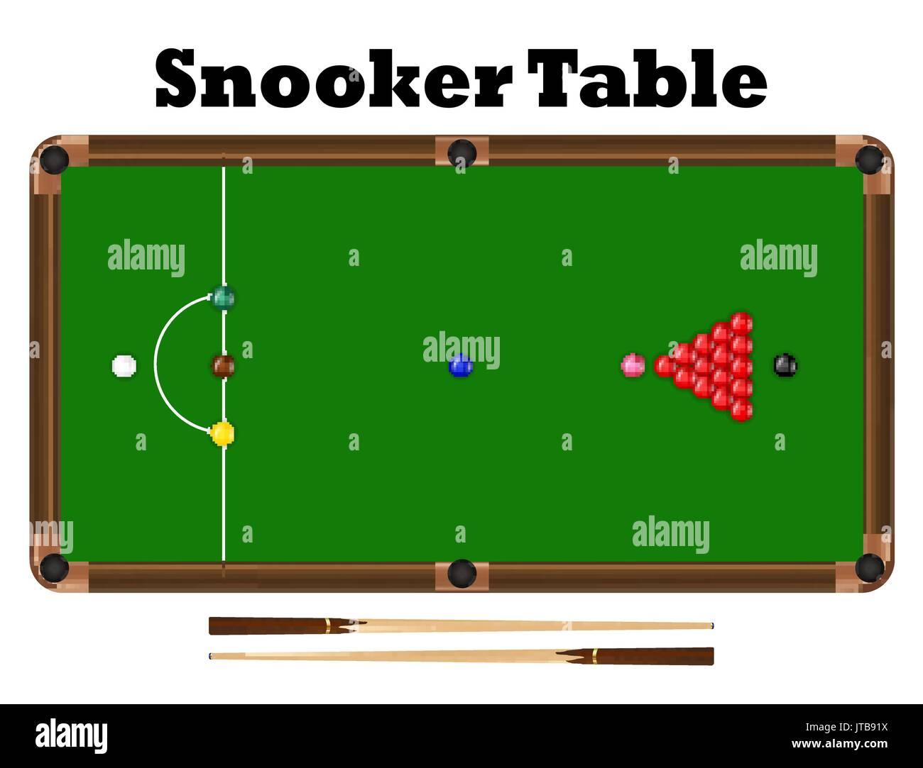 Vista superiore snooker sfera sul tavolo da biliardo a vettore ...