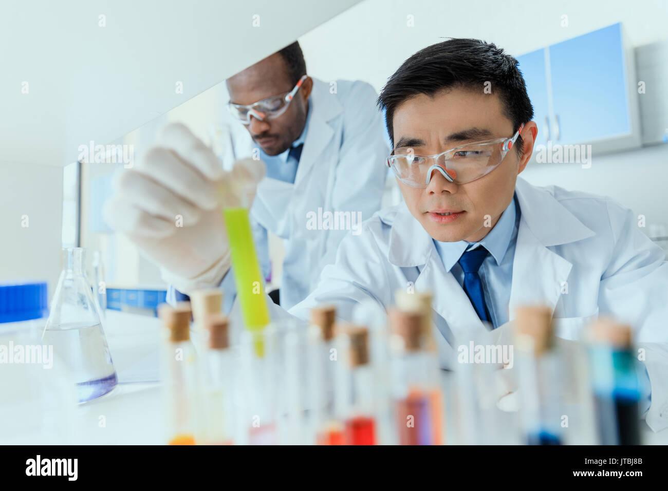 Professional scienziati in camici lavorando insieme in laboratorio chimico Immagini Stock