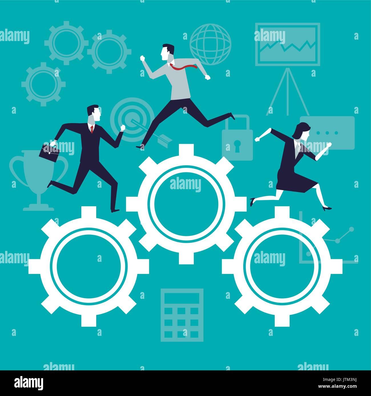Colore di sfondo della crescita aziendale con la gente di affari in esecuzione nel meccanismo di ingranaggi Immagini Stock