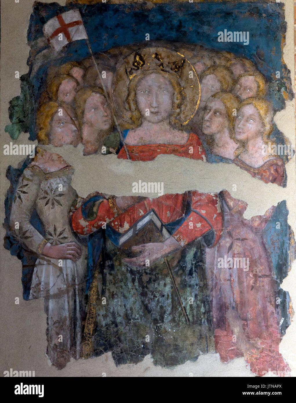 Interno affresco della Basilica di Santo Stefano, Sette Chiese, Sette Chiese, Bologna, regione Emilia Romagna, Italia Immagini Stock