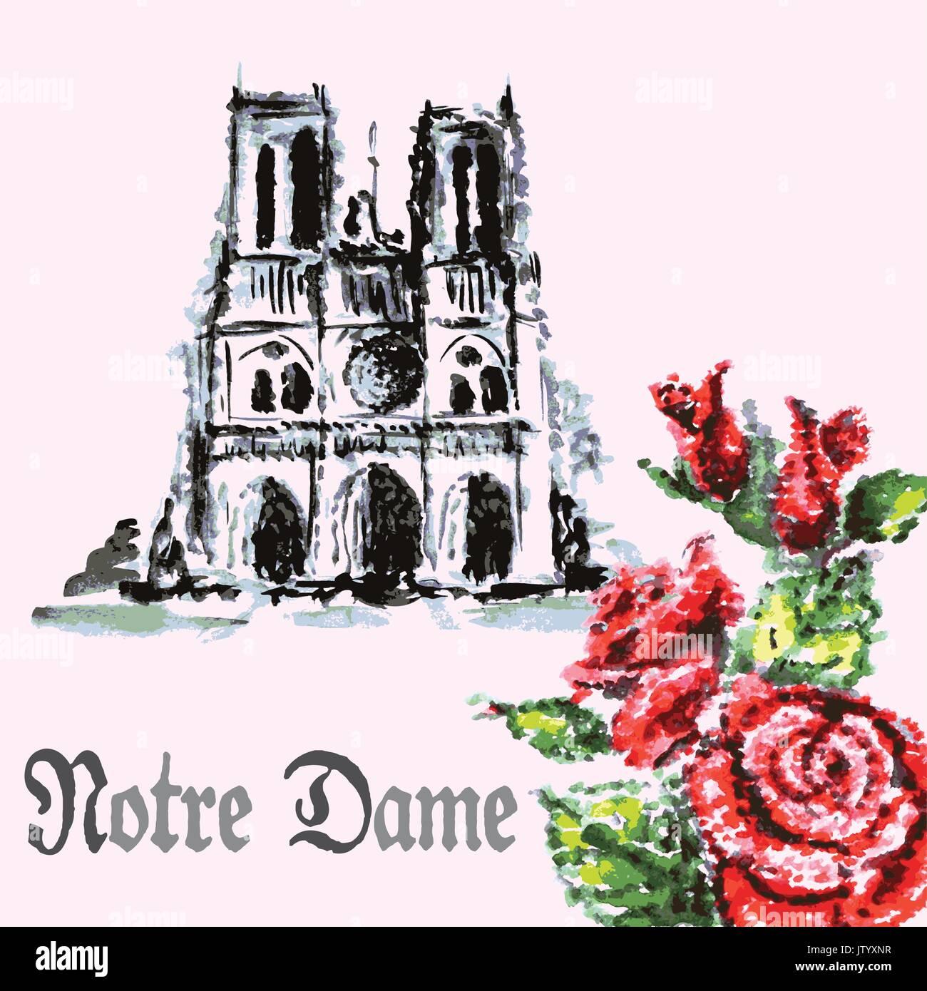 Disegno A Mano Bellissimo Sfondo Acquerello Mazzo Di Rose E La