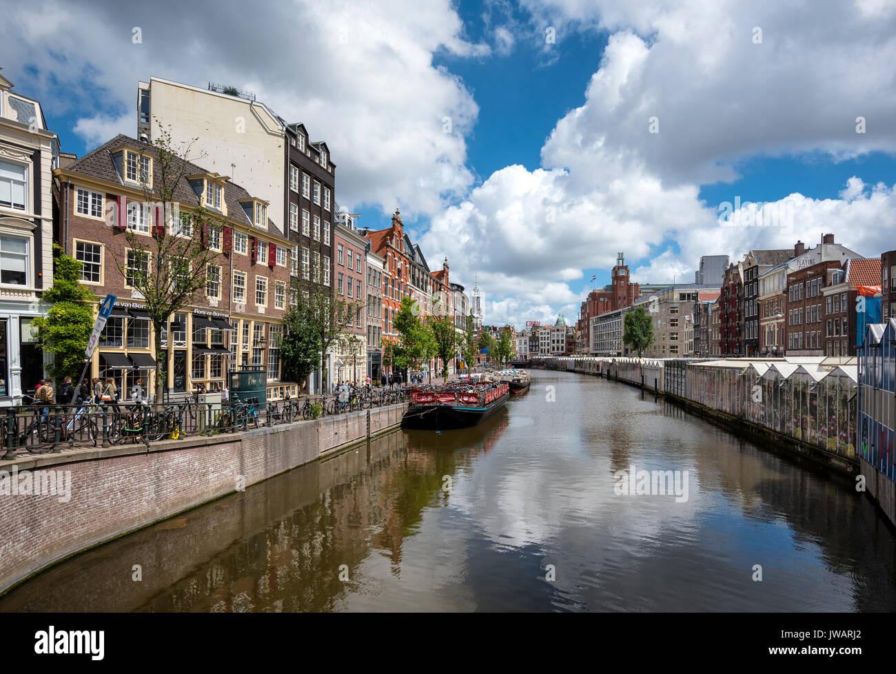 Il Singelgracht a Bloomenmarkt, Amsterdam, Olanda Settentrionale, Paesi Bassi Immagini Stock