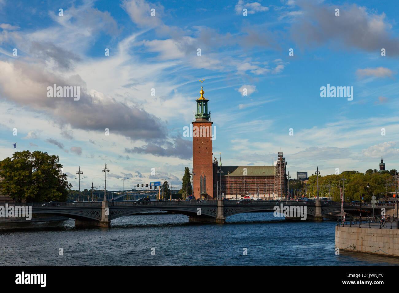 Gamlastan e Municipio. Stoccolma Città Vecchia, Svezia Immagini Stock