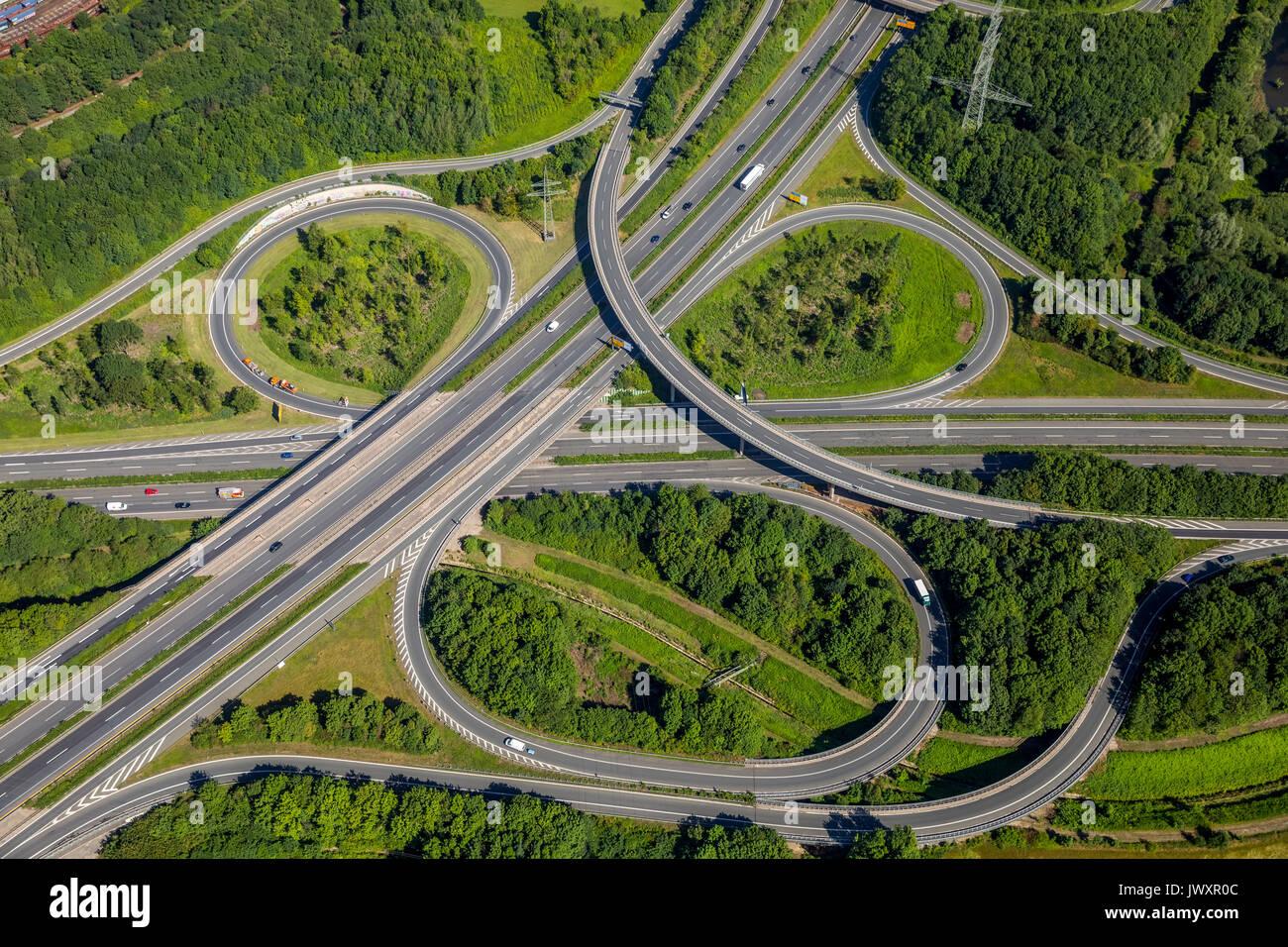 Springorumknoten, interchange Springorum, spaghetti nodi, autostrada, autostrade, B236, Brackeler Hellweg, Dortmund, la zona della Ruhr, Renania settentrionale-Vestfalia, Ge Immagini Stock