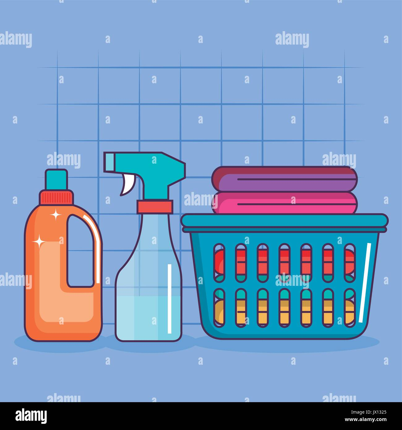 54b180fc23 Cesto per la biancheria vestiti spray detergente e illustrazione vettoriale  Immagini Stock