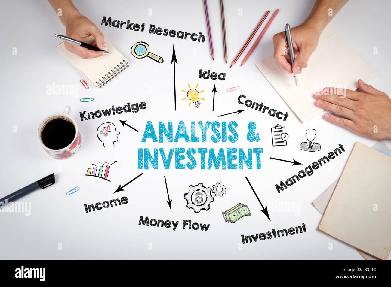 Analisi e concetto di investimento. il grafico con le parole chiave e le icone. Immagini Stock