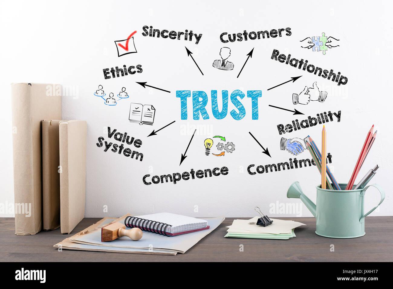 Il concetto di trust. libri e articoli di cartoleria su una tavola di legno scrivania in ufficio. Immagini Stock