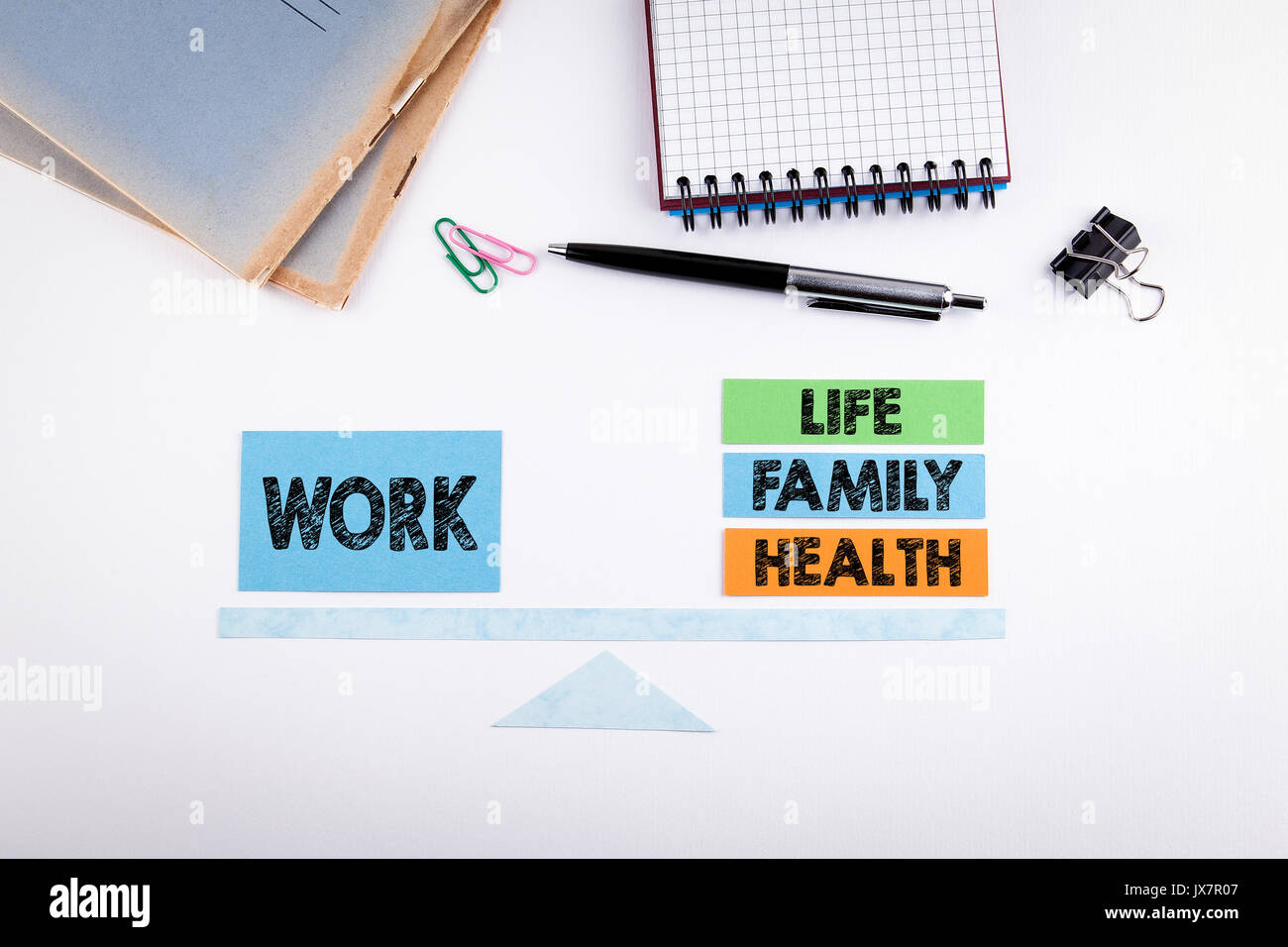 Equilibrio tra lavoro e vita familiare concetto. La scala della carta su un tavolo bianco. Immagini Stock