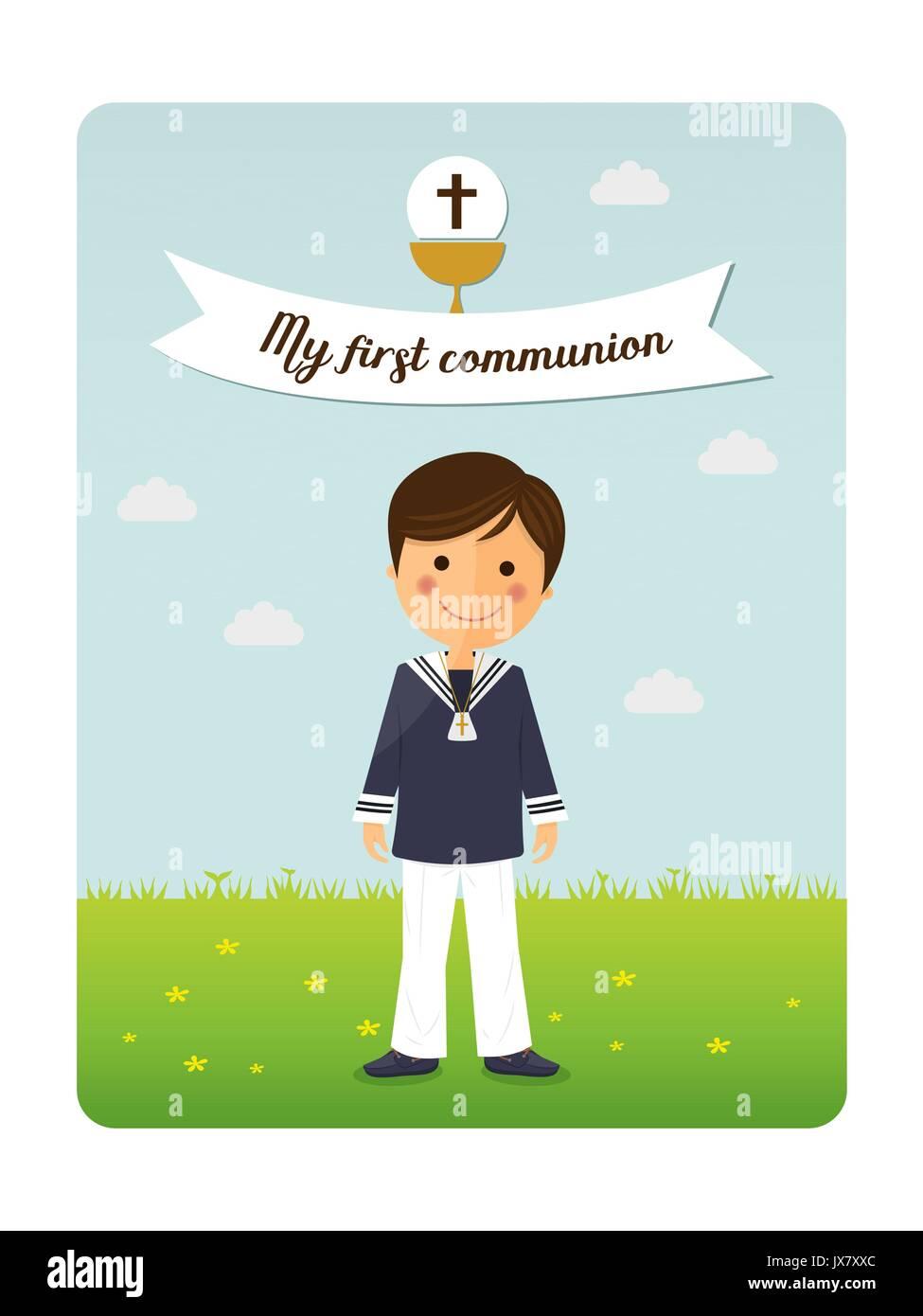 Prima Comunione Bambino Invito Con Il Messaggio Illustrazione