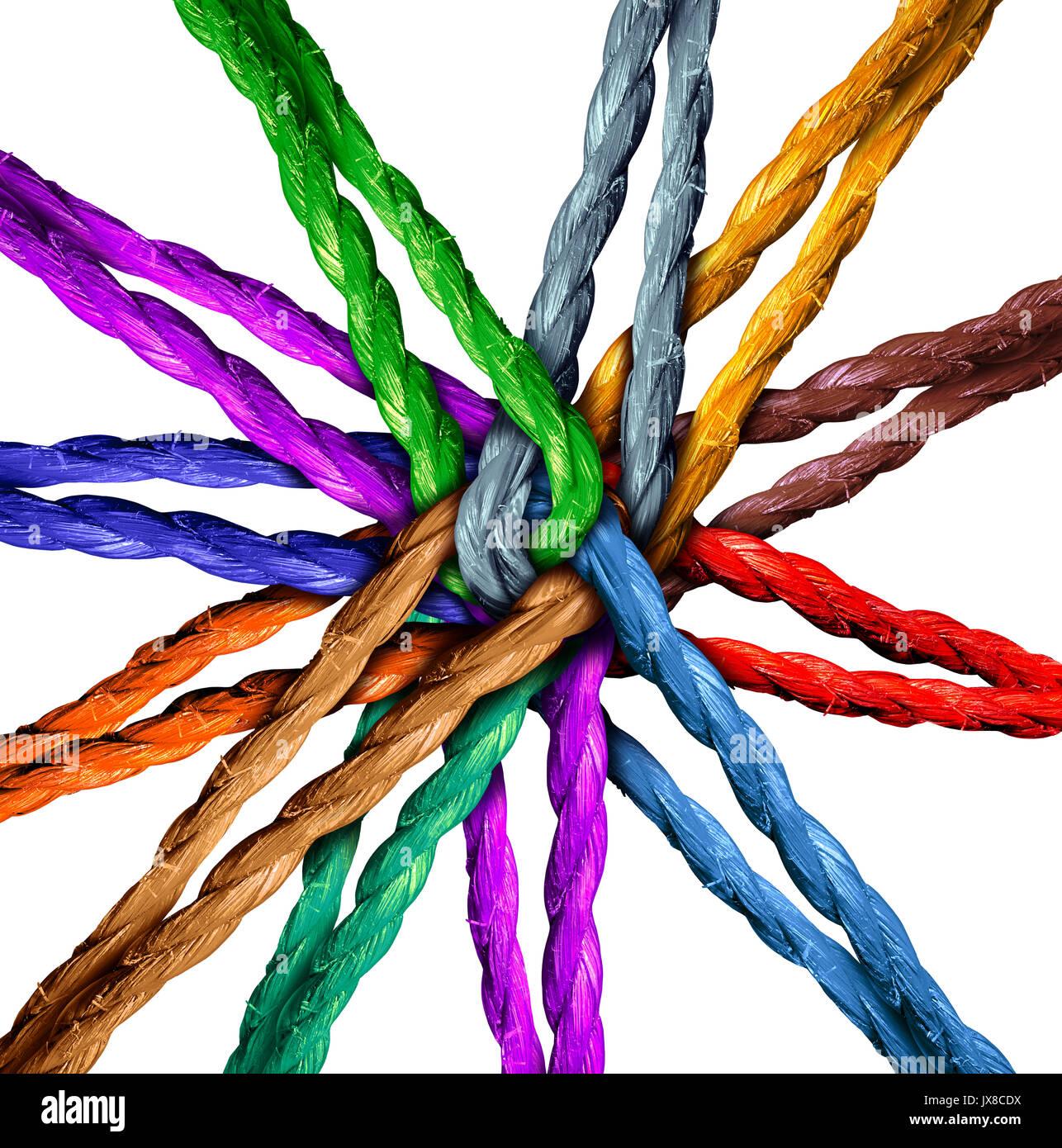 Connesso team centrale di connessione di rete il concetto di business come un gruppo di diverse funi collegate al centro 0come una metafora della rete. Immagini Stock