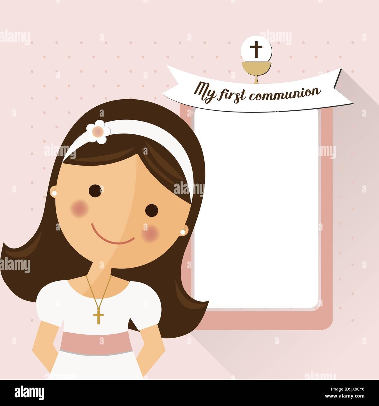 La Mia Prima Comunione Invito Con Il Messaggio E La Ragazza In Primo