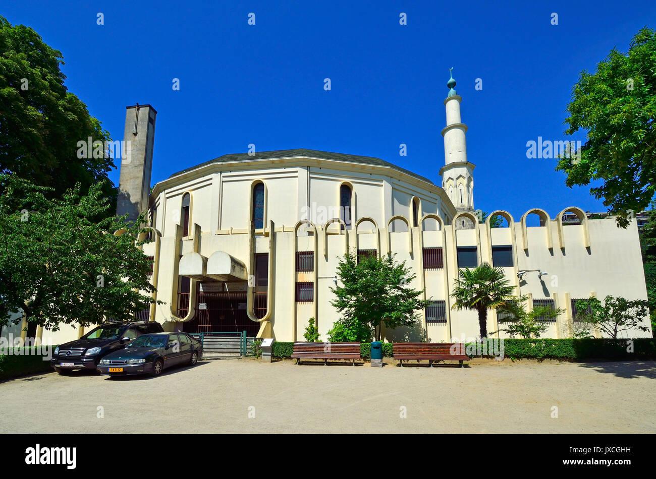 Bruxelles, Belgio. Parc du Cinquantenaire / Jubelpark. Grande Moschea di Bruxelles / islamico e Cultual Centro del Belgio (1978) Immagini Stock