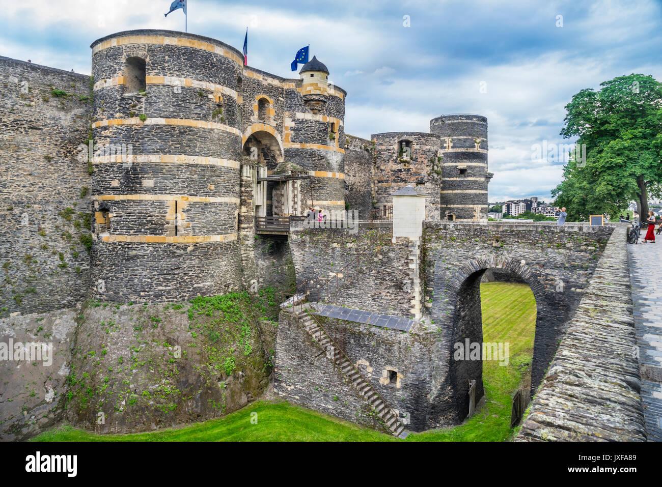 Francia Pays de la Loire, Angers, il cancello principale di Château d'Angers Immagini Stock