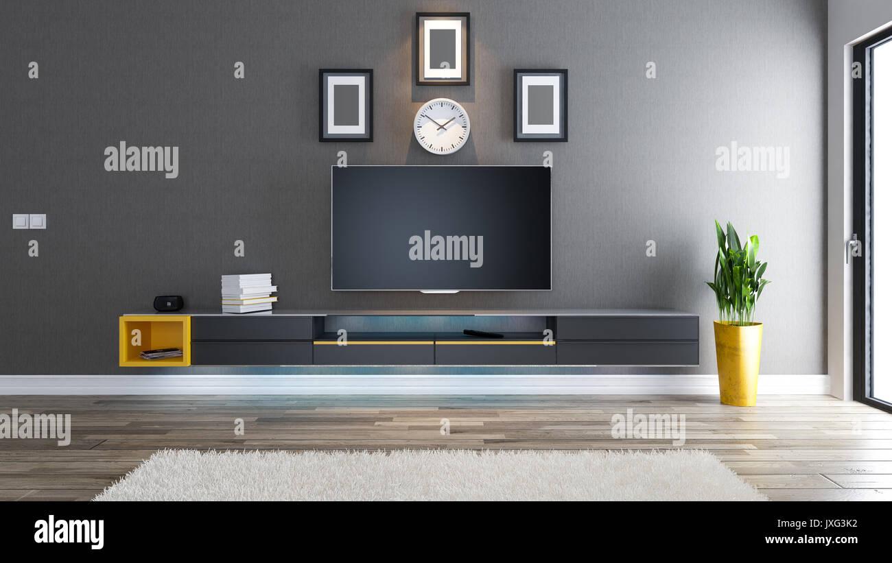 Sala tv, salone o soggiorno con carta da parati coperta parete e ...