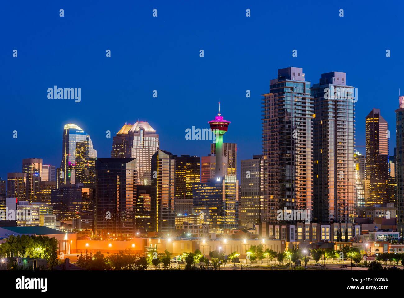 Skyline del centro di Calgary, Alberta, Canada Immagini Stock