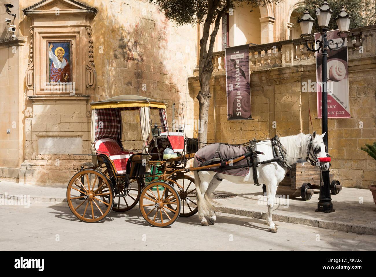 Un turista a cavallo e carrello carrello attende per i passeggeri per un viaggio di Mdina Malta Immagini Stock