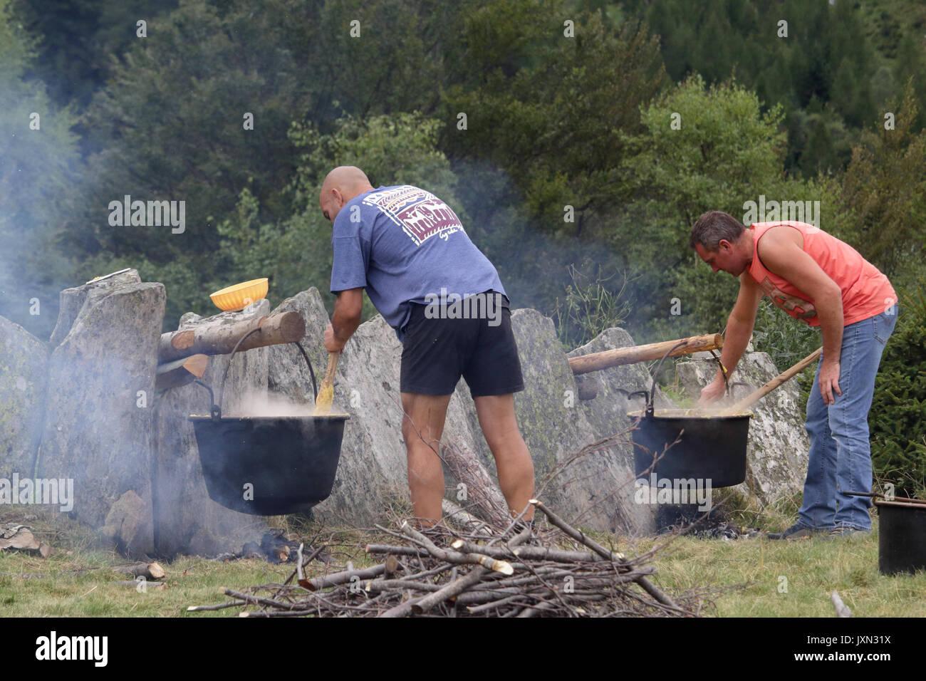 Italiano polenta di farina di mais (polenta) essendo cotti a fiamma bassa in una pentola su una tavola di legno e carbone falò durante un pasto rurale in una foresta Immagini Stock